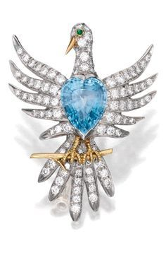18 KARAT GOLD, PLATINUM, AQUAMARINE, DIAMOND AND EMERALD BROOCH, SCHLUMBERGER FOR TIFFANY & CO.