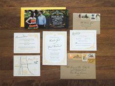 Magnolia wedding invitation suite by Harken Press