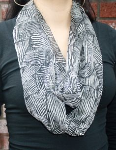 Popular infinity scarf cowl in black white tones by PaulaMadeIt, $14.00