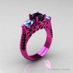 Classic 14K Pink Gold Three Stone Black Diamond Aquamarine Solitaire Engagement Ring Wedding Ring R200-14KPGAQBD