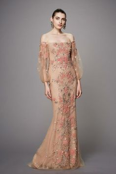 Marchesa Off-The-Shoulder Beaded Gown, CORAL embellishments and embroidery on Gold fabric, fully lined, hidden back zipper and closure. Made in the USA and available through Moda Operandi. Fashion 2017, Couture Fashion, Runway Fashion, Fashion Show, Ladies Fashion, Fashion Pics, Fashion Fashion, Spring Fashion, Beautiful Gowns