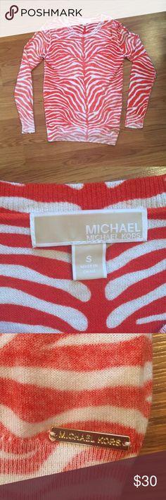 Zebra print sweater Orange zebra print light weight sweater KORS Michael Kors Sweaters Crew & Scoop Necks