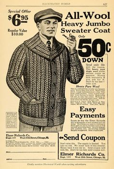 1922 Ad Elmer Richards Wool Sweater Coat Men's Fashion