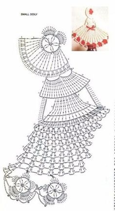La poupée Molly - tutos tricot et crochet - evony. Crochet Motifs, Crochet Diagram, Crochet Art, Crochet Stitches Patterns, Doily Patterns, Thread Crochet, Vintage Crochet, Crochet Crafts, Crochet Hooks