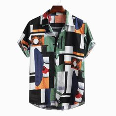 TWO-SIDED Mens Ethnic Abstract Color Block Patchwork Casual Short Sleeve Shirt is designer and cheap on Newchic. Mens Printed Shirts, Printed Shorts, Casual Groom Attire, Men Casual, Mens Casual Shirts, Casual Outfits, Camisa Hippie, Velvet T Shirt, African Fashion