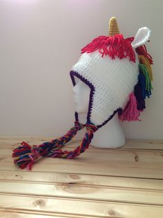 Crochet Rainbow Unicorn Hat by TCSimplyChic on Etsy, $18.00
