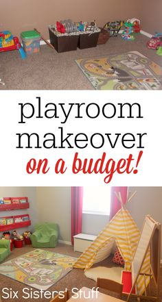 Check out our Kids Playroom Makeover on a Budget! A few small changes made this Toy Rooms Budget Check Kids Makeover Playroom Small Playroom Organization, Playroom Decor, Playroom Ideas, Organizing, Basement Ideas, Playroom Layout, Gray Basement, Wall Decor, Small Playroom