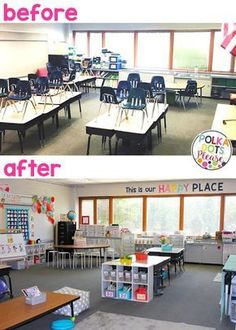Flexible seating classroom makeover with decor and organization tips