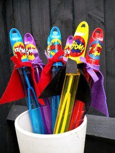 Superhero bubble swords: kids superhero party bag alternative, superhero party favours – Snip Snap Snout