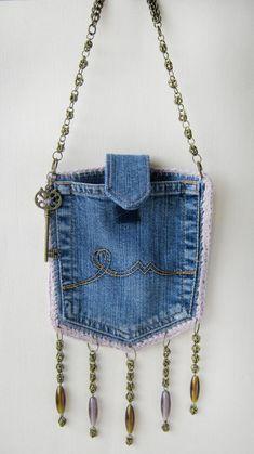 Denim designer purse, pocket bag with chain buckle. Boho Set - recycled jeans handbag - Denim designer purse, pocket bag with chain buckle. Purses And Handbags, Small Handbags, Luxury Handbags, Cheap Handbags, Cheap Purses, Popular Handbags, Cheap Bags, Luxury Purses, Handbags Online