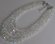 Vintage 5 Strand AB Swarovski Crystal by StarliteVintageGems, $62.00
