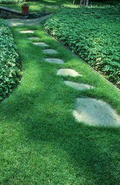 Single-row flagstone path for the back yard