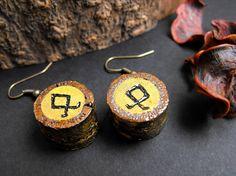 Viking earrings viking jewelry pagan gift runes norse jewelry