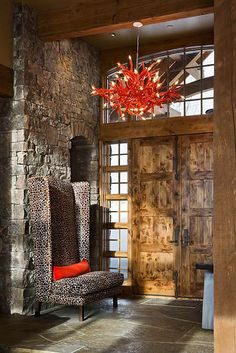 Awesome door and stone entry; beautiful wood; great window surround. Bear Trap by Locati Architects and Teton Heritage Builders