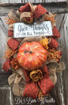 Fall Swag, Autumn Swag, Deluxe Fall Wreath, Fall Wreath, Fall Decor, Autumn Wreath, Autumn Decor, Halloween Wreath Make your door/wall or entry and inviting welcome to the warm colors of Autumn. Give Thanks In All Things  A Stunning Fall beauty, each material used to create this head turner is rich in fine details! A rustic mix of brown, burnt orange, copper and burlap makes such an inviting statement for Fall! Made on a wired pine frame and filled with a gorgeous assortment of b...