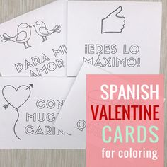 Free Spanish Valentine's Day cards for the home or classroom. These adorable printables for Día del amor y la amistad are easy to make and use! Language Lessons, Spanish Language Learning, Teaching Spanish, Dual Language, Spanish Teacher, Preschool Spanish, Spanish Classroom, Free Valentine Cards, Middle School Spanish