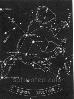 Big Dipper Ursa Major - Great Bear Night Sky 1948 Star Chart Map - Northern Stars Constellations