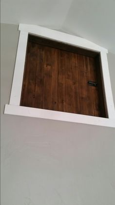 Reclaimed wood attic access door made from our old fence. & Boys Bedroom Ideas - paint the attic drop-down door to look like an ...