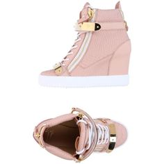 Giuseppe Zanotti Design High-tops & Sneakers ($710) ❤ liked on Polyvore featuring shoes, sneakers, pink, leather wedge sneakers, high top sneakers, wedge sneakers, leather high tops and hidden wedge sneakers