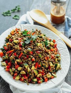 An easy salad or side dish of hearty lentils and fresh veggies, tossed in a balsamic vinaigrette dressing Lentil Salad Recipes, Side Salad Recipes, Vegetarian Salad Recipes, Salad Recipes For Dinner, Whole Food Recipes, Healthy Recipes, Easy Salads, Healthy Salads, Healthy Food
