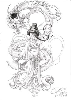 by danihell-lima on DeviantArt Japanese Dragon Tattoos, Japanese Tattoo Art, Japanese Tattoo Designs, Japanese Sleeve Tattoos, Best Sleeve Tattoos, Geisha Drawing, Samurai Drawing, Samurai Tattoo, Daruma Doll Tattoo
