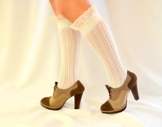 girly lace boot socks  - knitted ivory lace boot socks finished  ivory lace trim cozy socks girl socks lacy socks. $22.00, via Etsy.