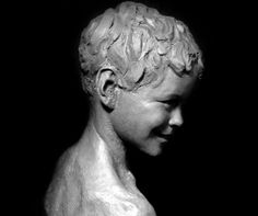 Bronze Portrait Sculptures / Commission or Bespoke or Customised sculpture by artist Wesley Wofford titled: 'Neverland Found (bronze Child Portrait Commission sculpture Bust Head)'