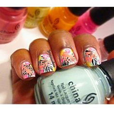 Tropical mani  I love how these turned out!  Its so vibrant and bright for the summer.  I used all @chinaglazeofficial polishes • Vase At Value • Lemon Fizz • Flip Flop Fantasy • Spring In My Step • Sun Worshiper & • Pink Voltage