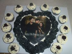 Twilight cake with cookies and cream cupcakes. Grace would love