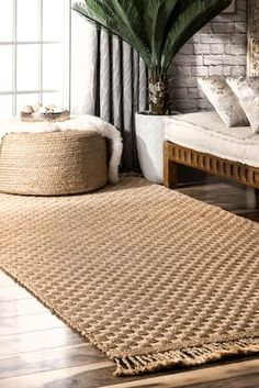 Rugs USA Natural Maui Plaid Jute With Braided Tassels rug - Casuals Rectangle 5 x 8 Natural Fiber Rugs, Natural Area Rugs, Natural Rug, Living Room Carpet, Rugs In Living Room, Braided Rag Rugs, French Country Living Room, Interior Exterior, Interior Livingroom