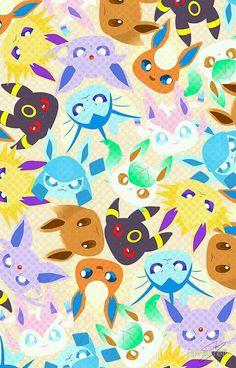 Eevee Wallpaper, Cute Pokemon Wallpaper, Kawaii Wallpaper, Iphone Wallpaper, All Pokemon, Pokemon Fan Art, Pokemon Mignon, Pokemon Backgrounds, Pokemon Eevee Evolutions