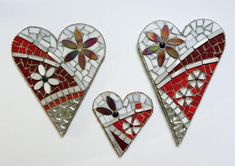 Handcrafted mosaic hearts incorporating glass, tile, marble, beads and jewels. Crafted on 3/4 plywood and grouted. This item is 11 x 15 x 1 and is ready to ship. Custom pieces and other sizes are available upon request. Great for Valentines day, Birthdays, and Wedding gifts. Beaded Creative Wedding Gifts, Custom Wedding Gifts, Great Wedding Gifts, Mosaic Crafts, Mosaic Projects, Mosaic Ideas, Mosaic Wedding, Free Mosaic Patterns, Heart Shaped Rocks