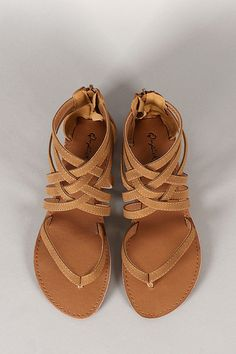 27256373bbf6b0 Qupid Strappy Gladiator Thong Flat Sandal on Wanelo