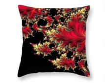 "Floral Throw Pillow, Windswept: Red and Cream Leaf on Black Botanical Fractal Decor by Susan Maxwell Schmidt - 14"", 16"", 18"", 20"" 26"" Square"