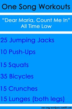 One Song Workouts {All Time Low - Dear Maria, Count Me In}