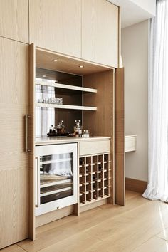 Home Bar Cabinet, Bar Cabinets For Home, Built In Bar Cabinet, Modern Bar Cabinet, Liquor Cabinet, Home Bar Counter, Kitchen Cabinets, Small Bars For Home, Bar Home