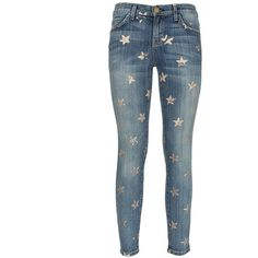 Current Elliott gold-tone stars printed denim Stiletto jeans ($525) ❤ liked on Polyvore