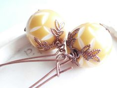 Long Beaded Drop Earrings  Mustard and White by linkeldesigns