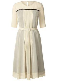 Orla Kiely Silk Georgette Pleat Front Dress Cream