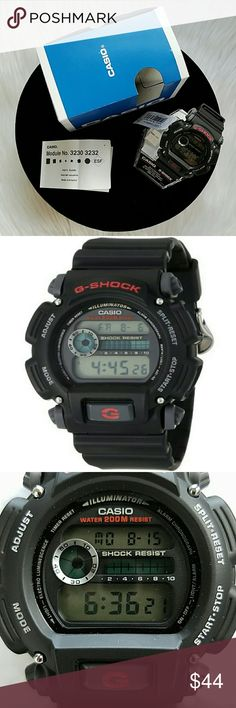 Men's G-Shock Casio DW9052-1V Watc This watch can withstand any vigorous activity, the durable rectangular black watch case measures 54mm wide and is matched to a comfortable black resin sports strap. The dial has two windows that show the time (bottom) and date (top). Among its other notable features is a multi-function alarm, hourly time signal which can be turned off and 12/24 hour formats.Measuring unit- 1 second.Auto repeat function.Band material-Resin.Band width-1.9 centimeters.Case…