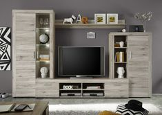 FIESTA TV wall cabinet with LED contemporary melamine sanded oak decor - L 301 c. FIESTA TV wall cabinet with LED contemporary melamine sanded oak decor - L Tv Cabinet Design, Tv Wall Design, Living Room Tv Unit Designs, Interior Design Living Room, Tv Unit Furniture, Home Furniture, Muebles Rack Tv, Tv Wanddekor, Tv Wall Cabinets