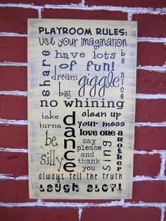 17 x 10 Wooden Sign  Playroom rules by JolieMaeCollections on Etsy, $25.00