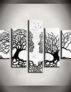 peinture à l'huile arbre de vent peintures abstraites avec étiré ensemble de 5 toile peinte à la main cadre