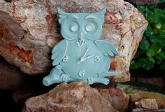 wood owl clock wall hanging.... by ParkerCompany on Etsy
