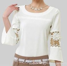 Korea Plus size vintage hollow sleeve women tops white lace chiffon blouse renda blusas femininas 2014 camisas roupas Blouse Patterns, Blouse Designs, Plus Size Tops, Plus Size Blouses, Top Chic, White Chiffon Blouse, Chiffon Shirt, Spring Fashion 2017, Cool Outfits