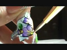 ( one stroke step by step ) Nails design Design Youtube, One Stroke Nails, Nails First, Nail Art Videos, Video Tutorials, Purple Flowers, Nail Designs, Paintings, Floral