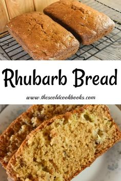 This Rhubarb Bread recipe is a great classic quick bread that is easily made. Served warm with a pat of butter, this quick bread featuring rhubarb is a great breakfast or snack option. Rhubarb Bread, Rhubarb Desserts, Rhubarb Cake, Healthy Rhubarb Recipes, Rhubarb Cookies, Rhubarb Scones, Rhubarb Crumble, Delicious Desserts, Just Desserts