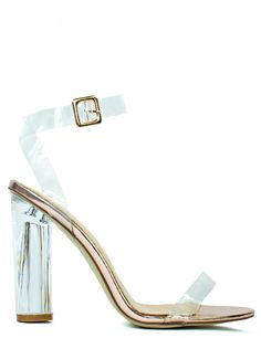Perspex style heels with a spark of rose gold○ Fastening\/style: Buckle fastening ○ Heel height: 4 inches ○ Features: Perspex heel and straps ○ Composition: Perspex ○ Colour: Rose gold