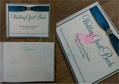 Teal wedding guest book with diamanté and pearl embellishment www.jenshandcraftedstationery.co.uk www.facebook.com/jenshandcraftedstationery