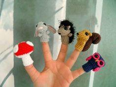 amigurumi PDF 5 finger puppet woodland crochet patterns by niklo Crochet Gifts, Crochet Toys, Crochet Baby, Free Crochet, Animal Knitting Patterns, Amigurumi Patterns, Crochet Motif, Finger Puppet Patterns, Appliques